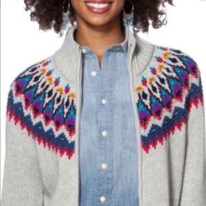 Chaps Denim Fair Isle Zip Up Sweater